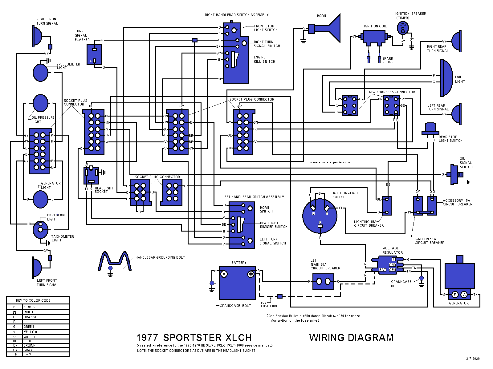 Ironhead Illustrated Wiring Diagrams - The Sportster and Buell Motorcycle  Forum - The XLFORUM® | Sportster 1977 Xlt Wiring Diagram |  | XL Forum